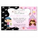 4x6 or 5x7 Pirate Princess Birthday Party Invitations Girl Baby Polka Dot Castle Print Yourself U
