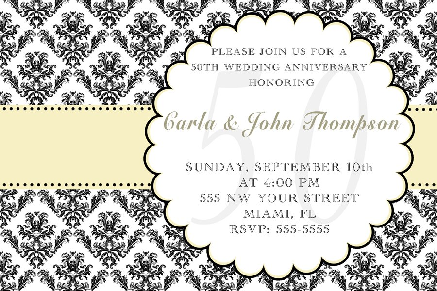 4x6 or 5x7 Wedding Anniversary Engagement Party Invitations Damask Monogram Print Yourself U