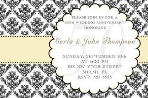 4x6 or 5x7 Wedding Anniversary Engagement Party Invitations Damask Monogram Print Yourself U