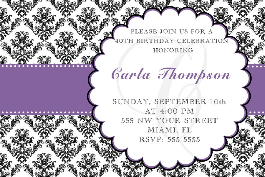 4x6 or 5x7 Birthday Party Invitations Damask Monogram Print Yourself U 21st 30th 40th 50th 60th