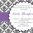 20 ct 4x6 Birthday Party Invitations Damask Monogram 21st 30th 40th 50th 60th 70th 80th 90th