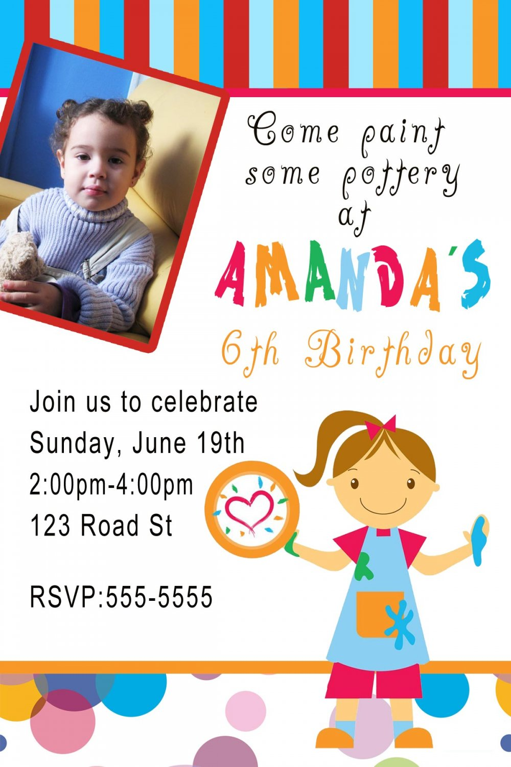 10 4x6 Pottery Art Birthday Party Photo Invitations Boy Girl 1st 2nd