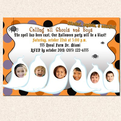Print your own - Halloween Birthday Party Photo Invitations Costume Witch Ghost Girl Boy Twins