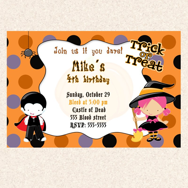 20 Halloween Birthday Party Invitations Costume Witch Dracula Girl Boy Twins
