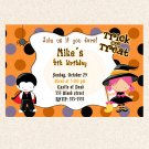 Print your own - Halloween Birthday Party Invitations Costume Witch Dracula Girl Boy Twins
