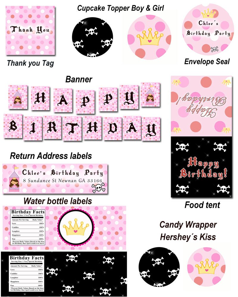 Pirate Fairy Princess Birthday Party Kit Printable Print yourself