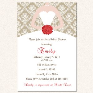 damask monogram flowers bridal shower invitations white bride dress wedding diy printable