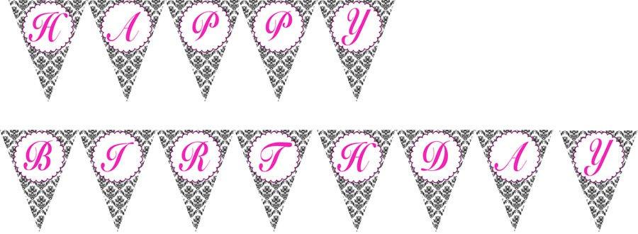 Printable Flag Banner Birthday Party Baby Bridal Shower Print yourself Damask Monogram