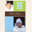 Printable New Baby Birth Announcement Photo Card Polka Dots Boy Girl