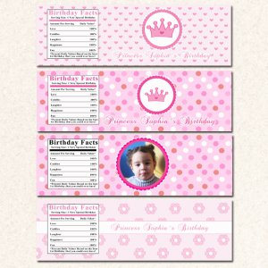 Printable Pirate Fairy Princess Water Bottle Labels Birthday Baby Shower Party Girl Twins