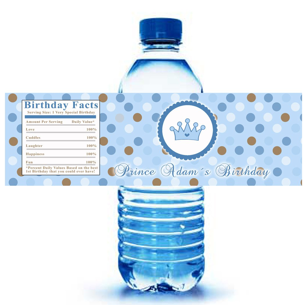 Printable Prince Crown Water Bottle Labels Wrappers
