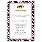 Printable Zebra Gymnastic Ballet Birthday Party Invitations Gym Girl Customized u print