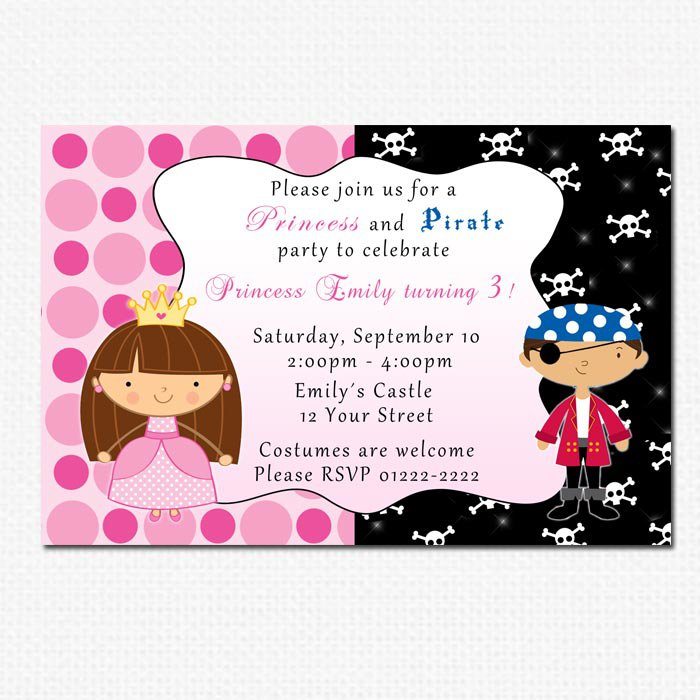 10 Personalised Pirate Princess Birthday Party Invitations Girl Baby ...