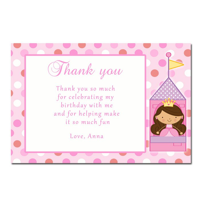 Printable Fairy Princess Thank You Cards Notes Birthday Baby Shower ...