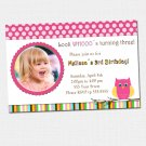 10 Look Whos Owl Polka dots Photo Birthday Party Baby Shower Invitations Girl Baby 1st 2nd