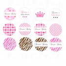 Printable Princess Polka Dots Print DIY Labels Tags Magnets Buttons Stickers Scrapbooking Hershey