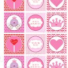 Printable Valentine Princess Print DIY Labels Tags Magnets Buttons Stickers Scrapbooking Thank You