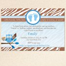Printable Owl Zebra Camping Chocolate Marshmallows Smores Baby Shower Invitations Boy 4x6 5x7