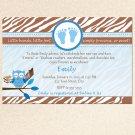 10 Smores Chocolate Marshmallows Baby Shower Invitations Boy Blue Zebra 1st Birthday