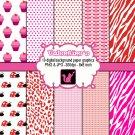 Valentines clipart clip art digital cardmaking graphics zebra cupcake ladybug leopard