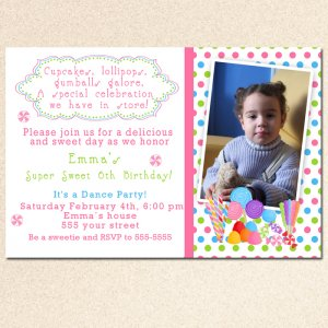 10 Candy Sweet Party Photo Birthday Baby Shower Invitations Girl Baby 1st 2nd