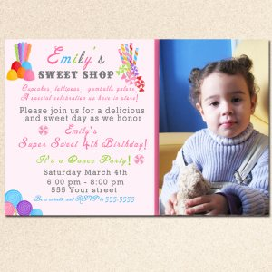 10 Candy Sweet Shop Party Photo Birthday Baby Shower Invitations Girl Baby 1st 2nd