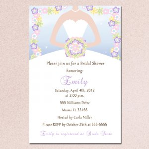 Spring Flowers Floral Bridal Shower Invitations White Bride Dress - DIY Printable Personalized