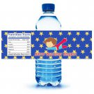 Printable Super Hero Superman Water Bottle Labels Wrappers Birthday Baby Shower Blue Boys