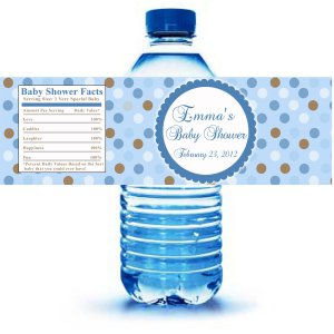 Printable Blue Polka Dots Water Bottle Labels Wrappers Birthday Baby
