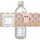 24 Labels Owl Damask Pink Brown Bottle Wrappers Birthday Baby Shower Blue Boys