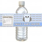 25 Labels Owl Polka Dots Blue Brown Bottle Wrappers Birthday Baby Shower Blue Boys