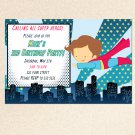 Printable Super Hero Superman Birthday Baby Shower Invitations 4x6 5x7