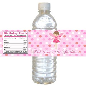 Printable Fairy Princess Water Bottle Labels Wrappers Birthday Baby Shower Pink Polka dots girl