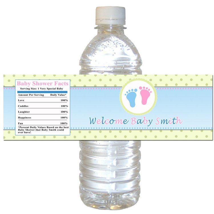 Printable Unisex Baby Shower Water Bottle Labels Wrappers Pink Blue Green Polka dots girl boy