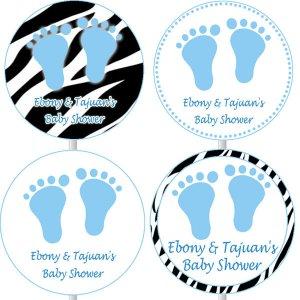Printable Baby Boy Shower Cupcake toppers - Blue Zebra Feet