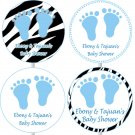 Printable Personalized Baby Boy Shower Cupcake toppers - Blue Zebra Feet