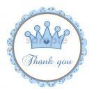 Printable Prince Crown Thank You Tags - Baby Boy Shower Birthday - Blue
