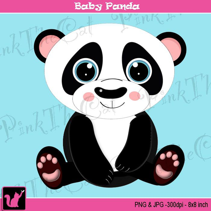 Cute baby panda bear digital clipart graphic - cardmaking - Clip art animal black white png jpg