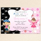 10 Pirate Fairy Princess Birthday Party Invitations Polka Dots Girl Baby