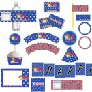 Printable Superhero Superman Birthday Baby Boy Shower Party Kit Package