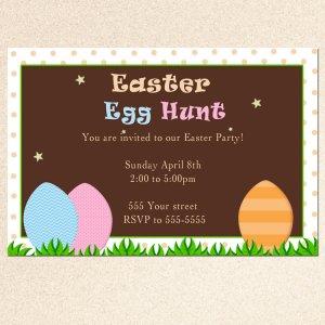 Printable Easter Egg Hunt Party Invitation Card Polka Dots Girl Boy Baby Print Yourself