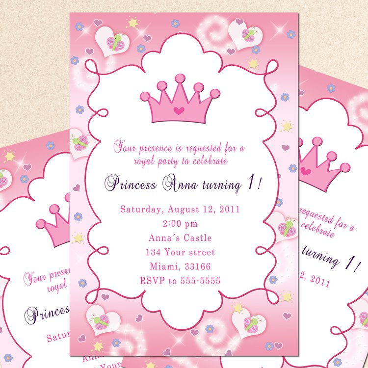 Personalized printable princess birthday party baby shower personalized printable princess birthday party baby shower invitations girl pink print yourself solutioingenieria Choice Image