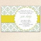 30 Damask Monogram Sage Green Birthday Party Baby Bridal Shower Invitations Personalized