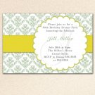 Personalized Printable Damask Monogram Sage Green Birthday Party Baby Bridal Shower Invitations