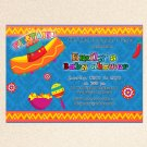 Mexican Fiesta Engagement Party Blue Invitations Sombrero Margarita Birthday Baby Bridal Shower