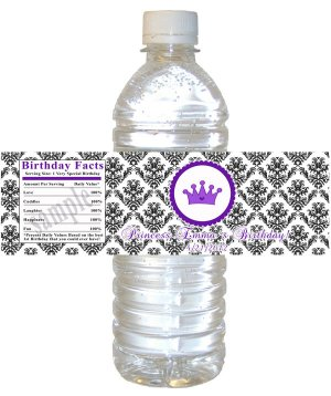 Printable Princess Water Bottle Labels Wrappers - Damask Birthday Party Baby Shower Custom Wraps
