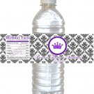 25 Personalized Damask Baby Shower Birthday Bottle Water Labels Wrappers Stickers