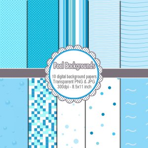 Clipart digital Pool invitation background paper graphics birthday - cardmaking - Clip art