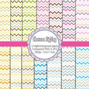 Clipart digital chevron zig zag background paper graphics birthday - cardmaking - Clip art