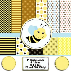 Bee clipart digital graphics frames and background papers